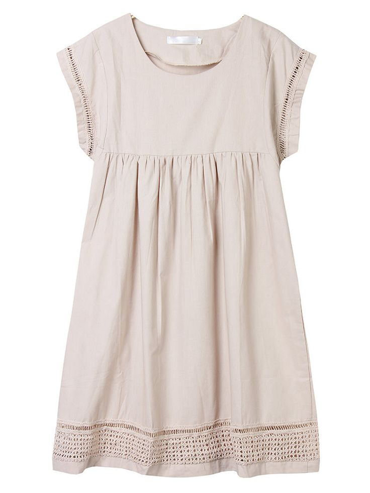 Women Casual Short Sleeve Hollow Splicing Pleated Loose Linen Dress