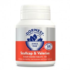 Dorwest Scullcap and Valerian tablets is a licensed herbal medicine used for as a treatment for noise phobias and fears associated with fireworks and thunder as well as for general excitability and hyperactivity. Calms and relaxes your cat or dog without causing drowsiness or sedation, enabling improved concentration. Ideal for use in showing, agility, sporting activities or obedience work.