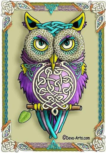 .Owl Art with Celtic Knots