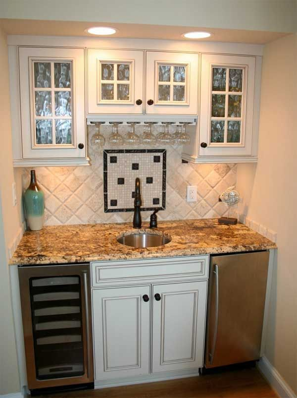 Wet Bar With Wine Cpoler Home Improvement Kitchen