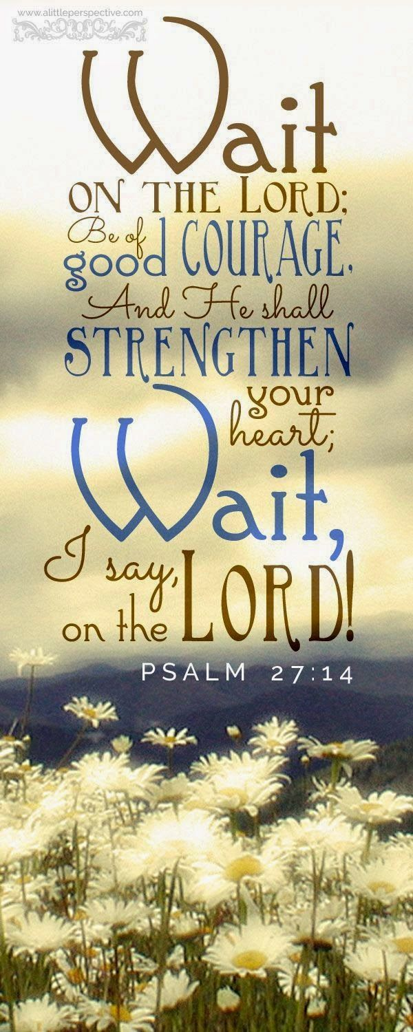 Psalm 27:14 (KJV) ~ Wait on the Lord: be of good courage, and he shall strengthen thine heart: wait, I say, on the Lord.