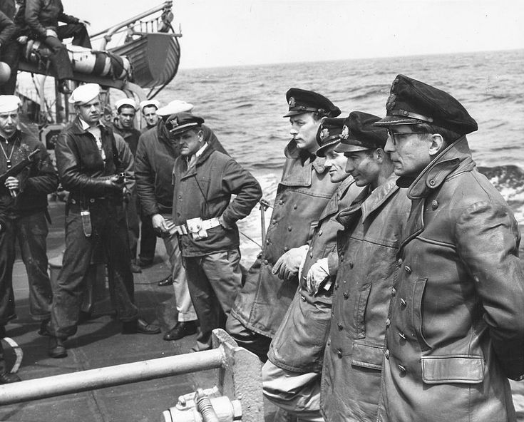 1945 US POWs German officers of the U-805 on deck (May 15) USS Varian DE-798, captured during Operation Teardrop