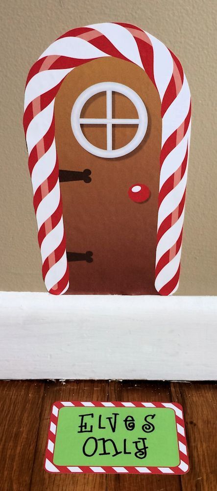 Elf on the Shelf Door.  Elf Door Christmas Santa Entrance Pixie by onehipstickerchic