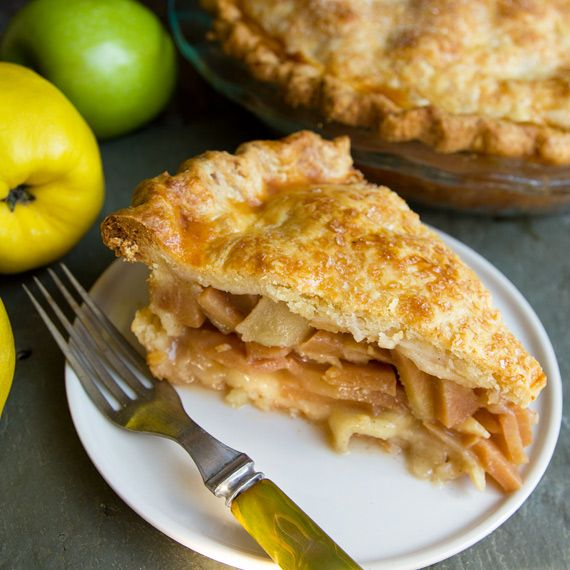 Quince/Apple Pie - yum!  I want to make this every autumn!  I didn't use the anise stars,and only used 3T sugar (in addition to the 1/2 cup honey); I didn't dot with honey; and some apples got cooked up with the quince (and were fine); also, I didn't stir my sauce well, but I did strain out the tapioca chunks!  (I used tapioca flour rather then wheat.)