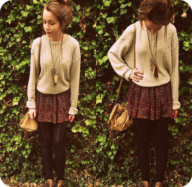 Comfy sweater, skirt, layered necklaces