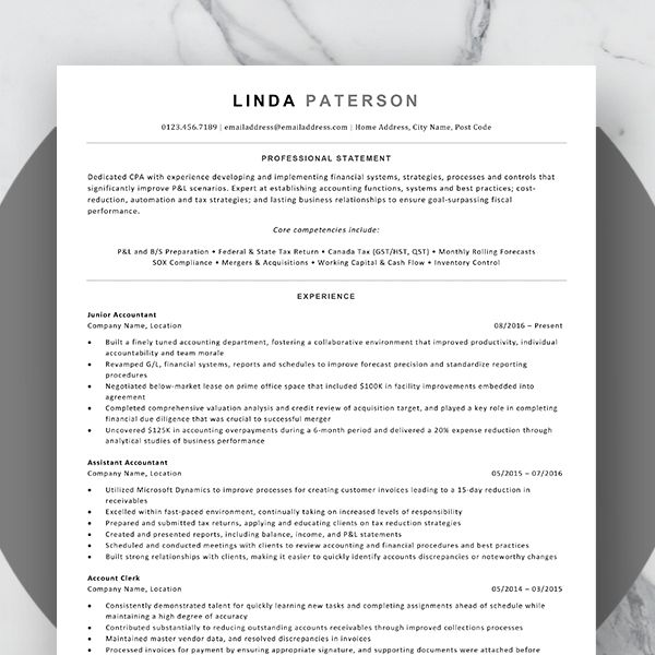 Ats Friendly Resume Template Ms Word Resume Template Resume Resume Examples