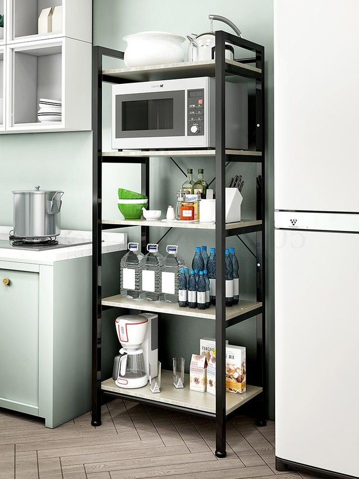 Kitchen Shelves On The Floor Non Punching Condiment Countertops Ovens Storage Cabinets Artifacts Microwave Ovens Multi Sto Storage Holders Racks Al Kitchen Rack Design Kitchen Shelves Home Decor Kitchen