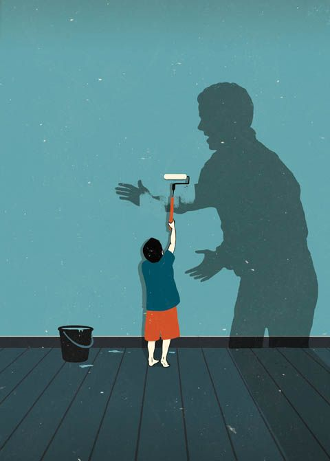 """Anna Parini, """"The End of Spanking?"""" An illustration about child discipline and spanking."""