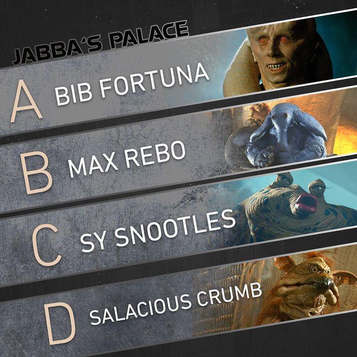 Who would you pal around with at Jabba's Palace?  #StarWars #ReturnOfTheJedi #JabbaTheHutt