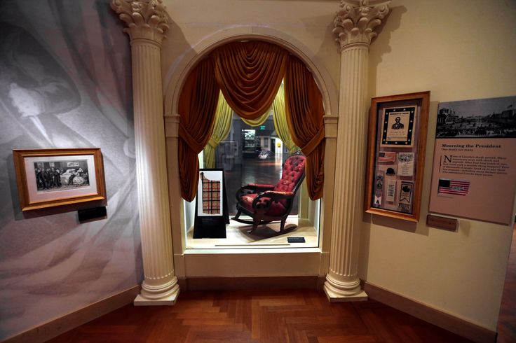 The chair in which President Abraham Lincoln was assassinated on April 14, 1865 is shown on display at the Henry Ford Museum in Dearborn, Mich., March 23, 2015. The Henry Ford Museum is offering a closer glimpse of the pivotal piece of history… AP Photo/Paul Sancya