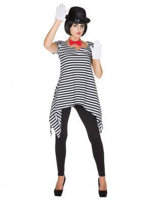 Tunic Pantomime ladies black / white
