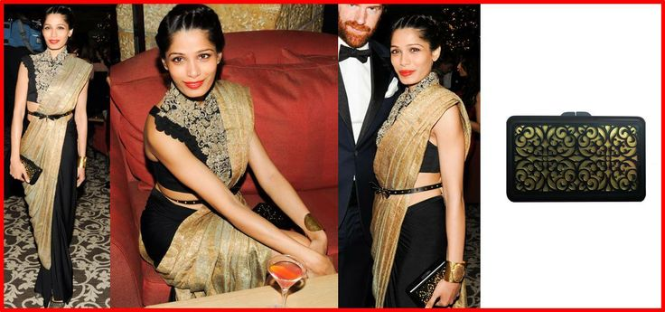 Freida Pinto adds a sparkle to her stunning black and gold Anamika Khanna ensemble with a Pinky Saraf clutch.