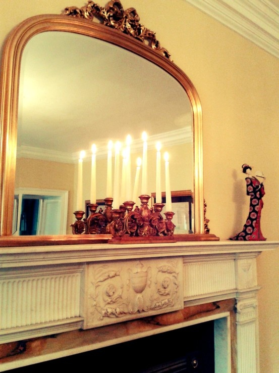 Mirror Over Mantle In Living Room