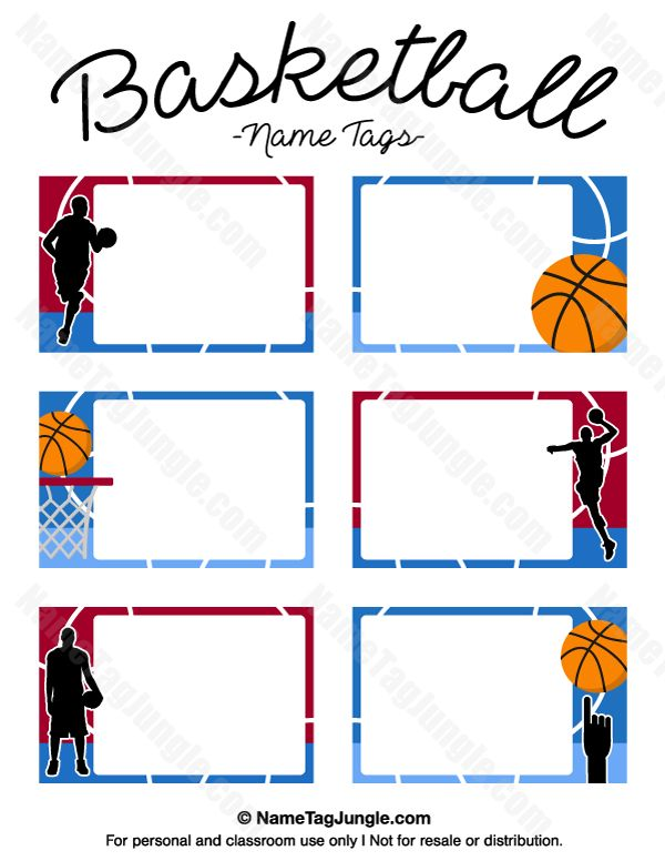 Free printable basketball name tags. The template can also be used for creating items like labels and place cards. Download the PDF at http://nametagjungle.com/name-tag/basketball/