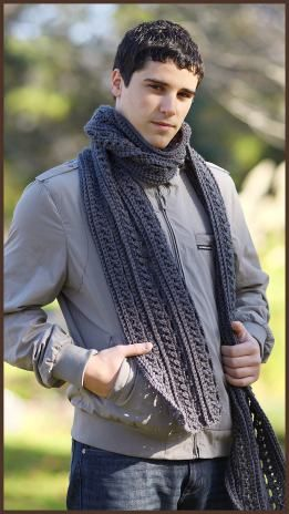 Gentleman's Scarf (textured cable, worsted weight yarn)