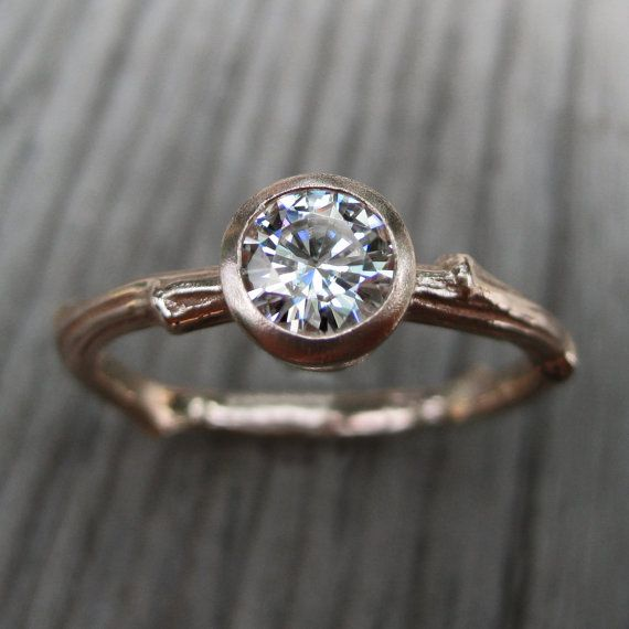 Diamond Twig Engagement Ring in Recycled Gold by KristinCoffin