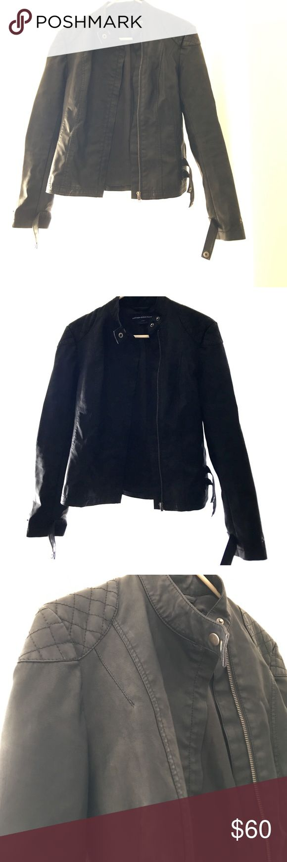 "French Connection Faux Leather Jacket French Connection ""Leather"" Jacket. Size US 6. I wear 2-4 and it fit okay with a little room. Polyurethane/Polyester/Viscose. French Connection Jackets & Coats"