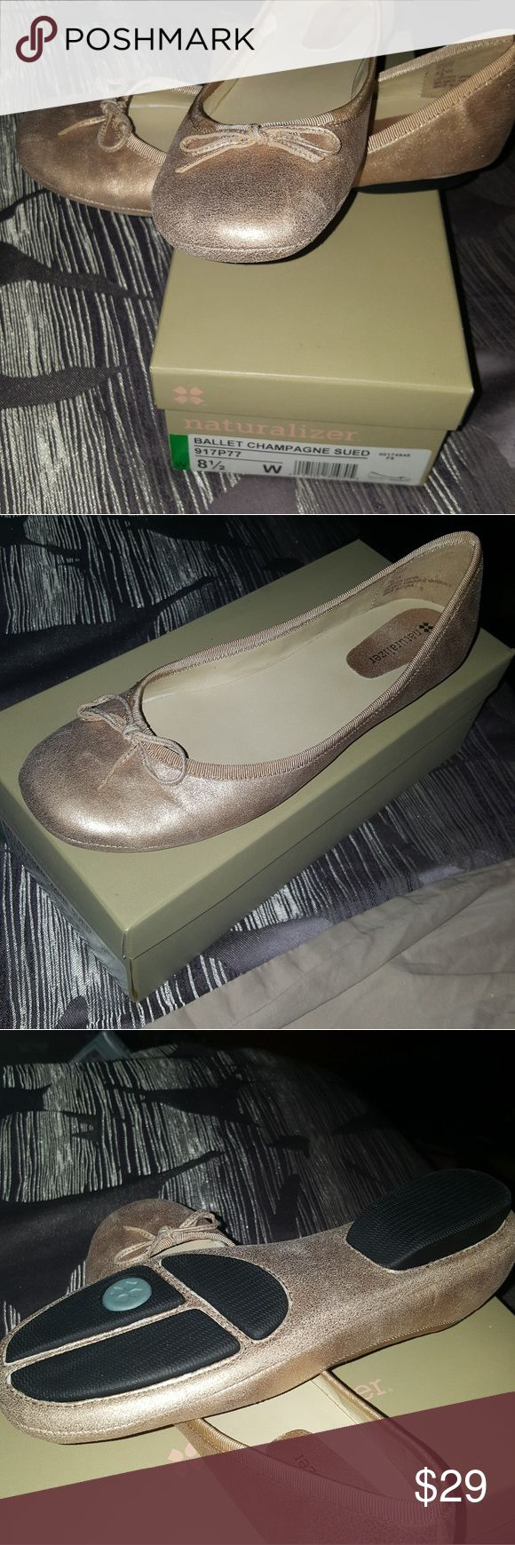 Brand new Naturalizer ballet size 81/2 Wide!! Brand new in box Naturalizer ballet champagne-colored shoes size 8 1/2 Wide!!  There is a small rip on the thin layer of the inner sole. This is a factory defect but is discreet and NOT AT ALL noticeable when wearing these beautys♡♡♡ Naturalizer Shoes