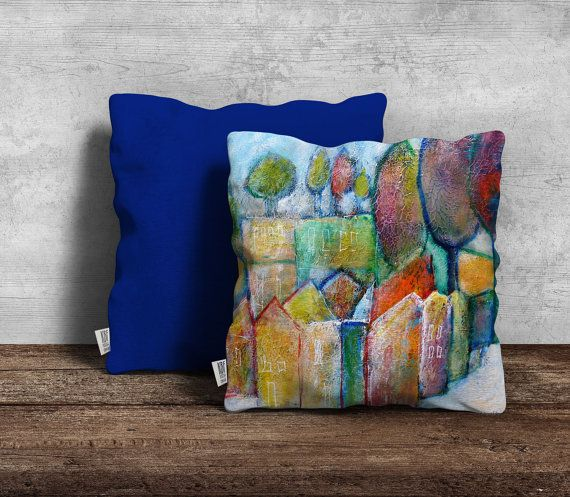 Modern cushion cover featuring artwork by by PeachyArtandTreasure