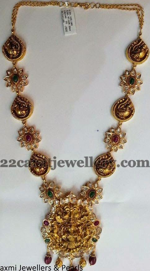 Jewellery Designs: Pachhi Setting Lakshmi Haram