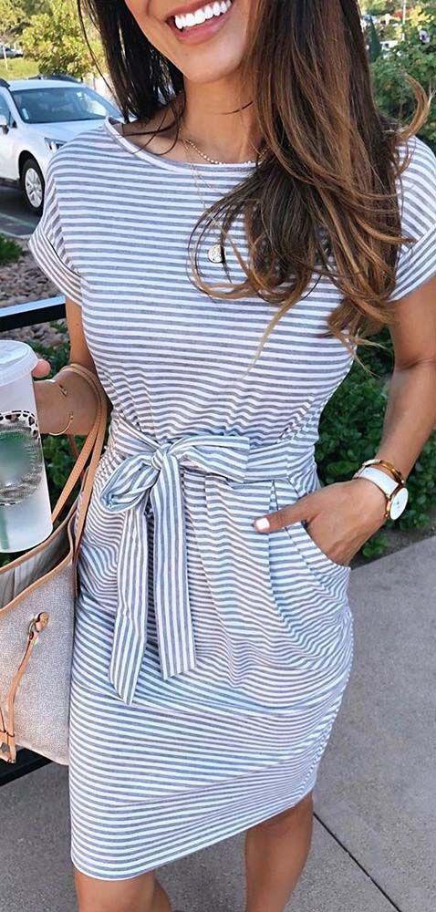 Striped Short Sleeve Pocket Casual Dress
