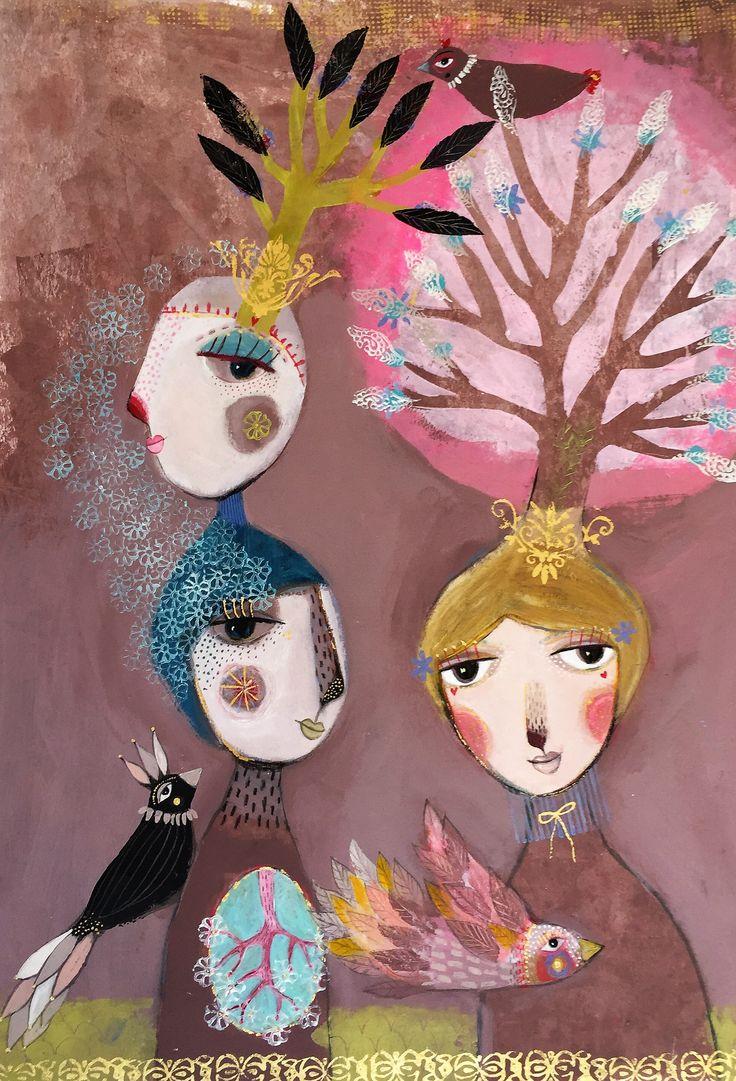 """Camilla Hyllén 2016 www.camillahyllen.com    """"Three birds""""  Acrylic on cardboard 50x70 cm"""