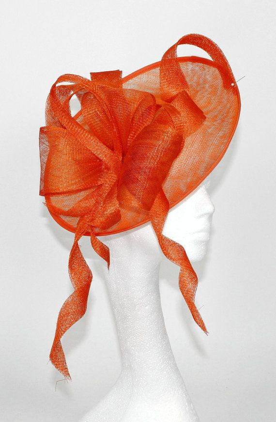 Orange Fascinator Hat for Weddings Occasions and by Hatsbycressida, $140.00