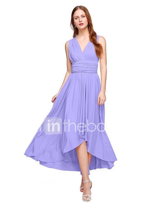 Lanting Bride® Asymétrique Jersey Robe Convertible Robe de Demoiselle d'Honneur - Trapèze Col en V Grande Taille / Petite avec de 2017 ? $782.01