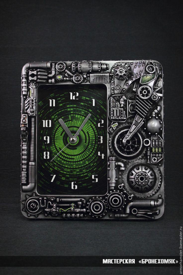 Купить Часы в стиле киберпанк - темно-серый, стальной, зеленый, часы, киберпанк, дизельпанк, гигер