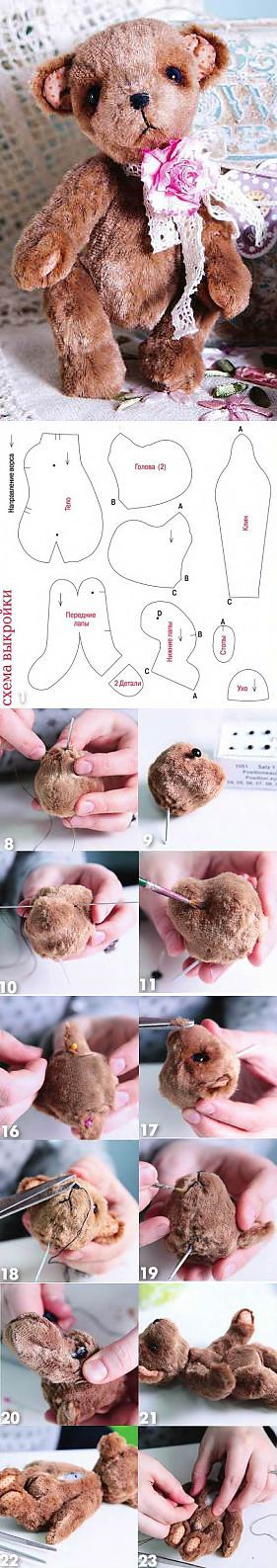 Мишка Тедди своими руками = teddy bear animal Handmade squirrel  Cuddly Toy, How to Make a Toy Animal Plushie Tutorial Plushies Tutorial , Animal Plushies, Softies & Furries Arts and Crafts, Diy Projects, Sewing Template , animals, plush, soft, toy, pattern, template, sewing, diy , crafts, kawaii, cute, sew, pattern