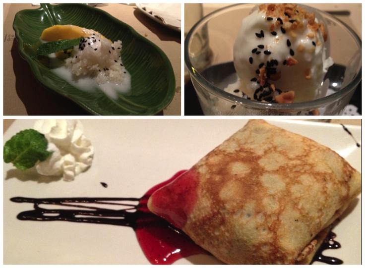 Postres Bangkok Café: crepe, arroz glutinoso y helado de coco. Deliciosos!
