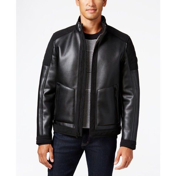 Michael Michael Kors Big & Tall Faux-Leather Faux-Shearling Jacket ($170) ❤ liked on Polyvore featuring men's fashion, men's clothing, men's outerwear, men's jackets, black, mens faux leather jacket, michael kors mens jackets, mens sherpa jacket, mens big and tall outerwear and mens big and tall jackets