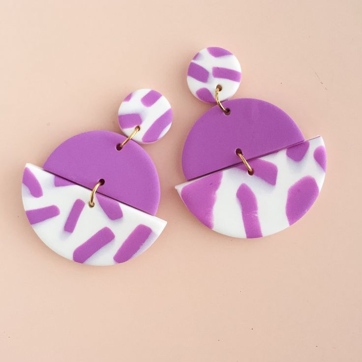 Polymer Clay Statement Earrings in a violet and white colour palette. by colourwork on Etsy https://www.etsy.com/au/listing/468796210/polymer-clay-statement-earrings-in-a