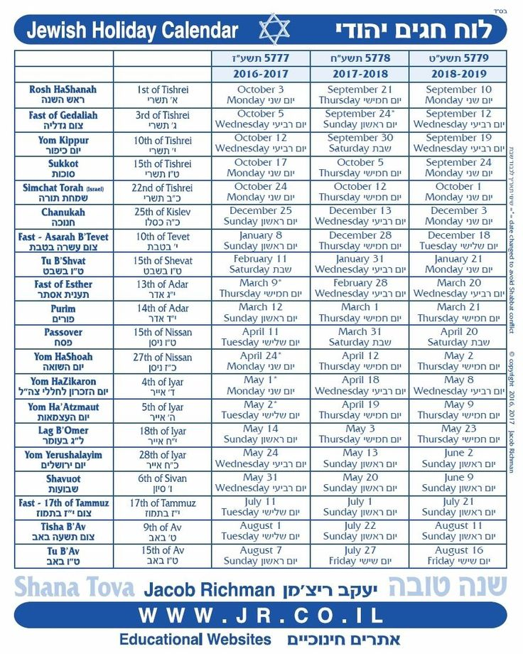Free 3 Year Jewish Holiday Calendar - Hebrew / English (images and PDF)