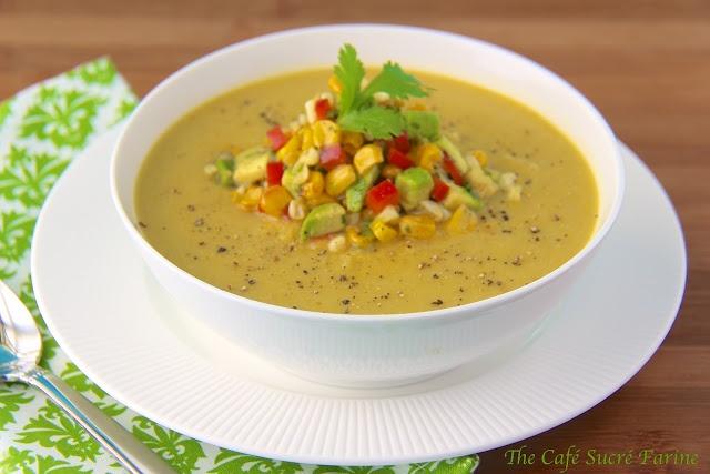 Fresh Corn Soup w/ Roasted Corn/Avocado Salsa