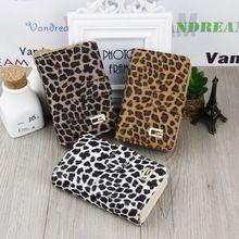 Envío Gratis Leopardo de La Manera de Las Mujeres de Cuero Bolso Monedero Botón Monedero Del Embrague de Señora corta(China (Mainland))