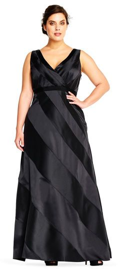 Adrianna Papell | Striped Evening Gown with V Neckline