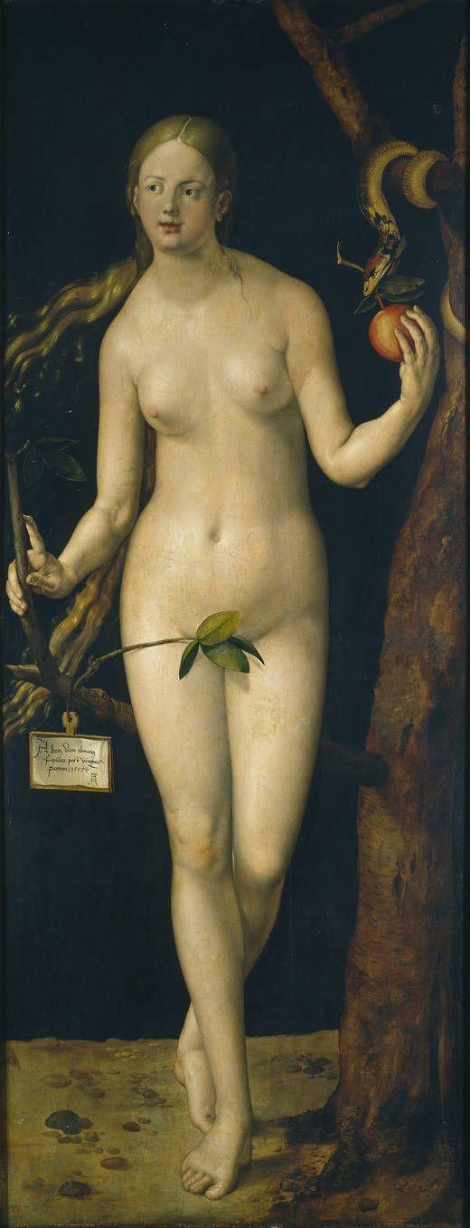 Eva. Alberto Durero. 1507. Museo del Prado. la pregunta de siempre ¿porqué los artistas siempre le pintan ombligo a Adan y Eva?