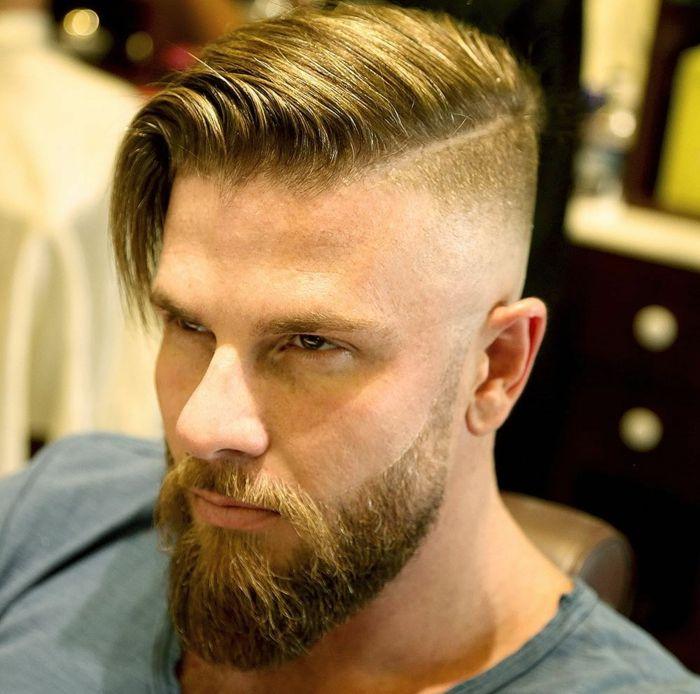 blonde Haare, langes oberes Teil, Undercut Männer Varianten, ein Viking Stil mi…