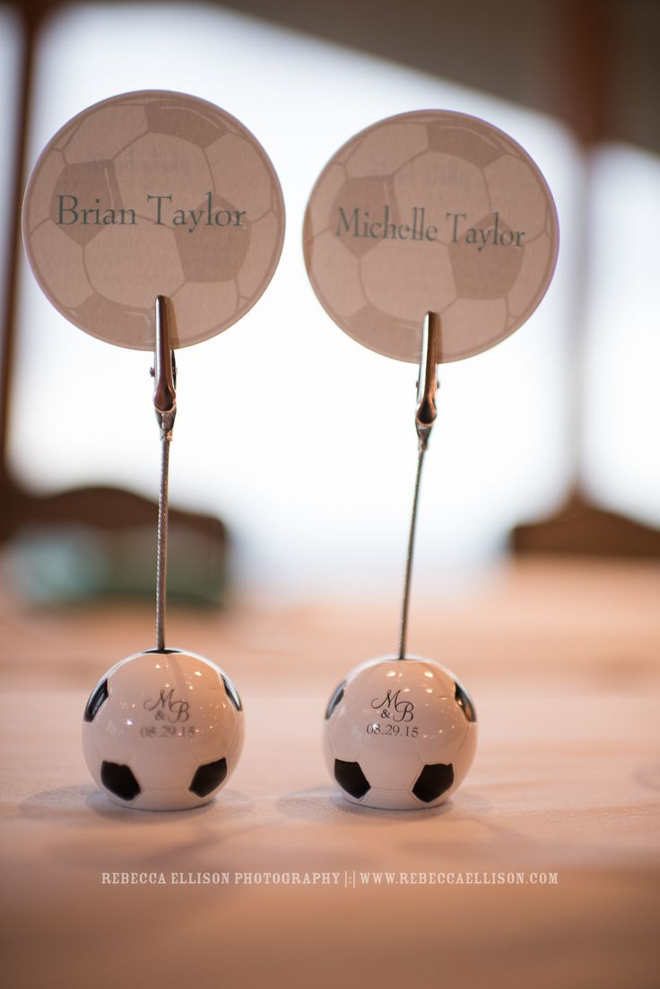 soccer ball picture holders with bride and grooms name and wedding date included | Rebecca Ellison Photography | Seattle Wedding Photographer | www.rebeccaellison.com