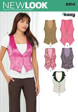 Womens Lined Vest Sewing Pattern 6914 New Look