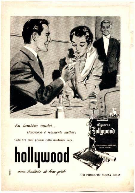 Propaganda dos Cigarros Hollywood nos anos 40 - requinte e elegância no anúncio.