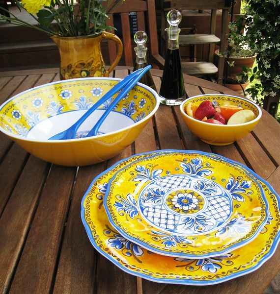 Le Cadeaux Melamine Dinnerware Benidorm Yellow ciaobellashop.com & 30 best Le Cadeaux: Melamine and Polycarbonate images on Pinterest ...