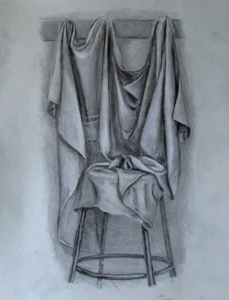 """Drapery Values: Charcoal and white conte crayon on 20x25"""" grey drawing paper"""