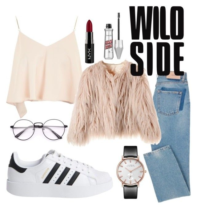 """"""""""" by alinapetrushenko ❤ liked on Polyvore featuring Topshop, adidas Originals and NYX"""