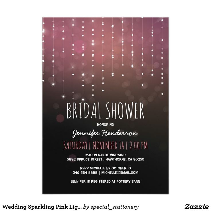 Wedding Sparkling Pink Lights Bridal Shower Invitation