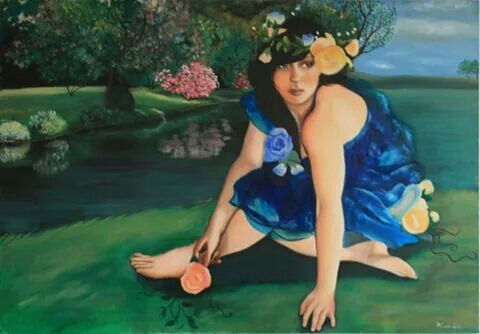 Painting nymphs, oil on v Canvas by ARTEILA
