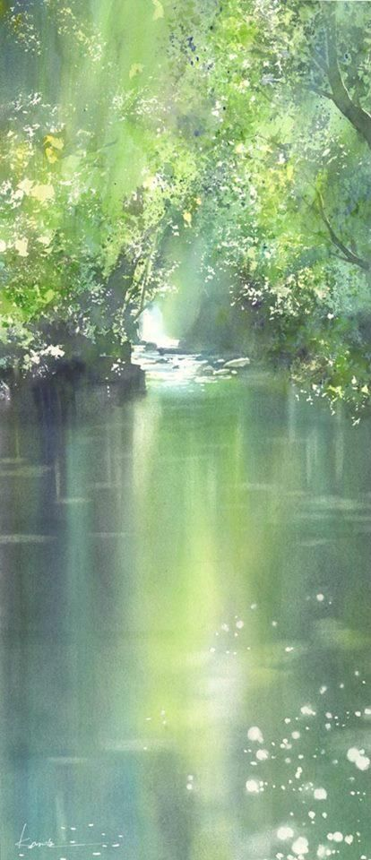 Kikuchi Valley, Kumamoto, Japan | Watercolor by Kanta Harusaki #watercolor jd