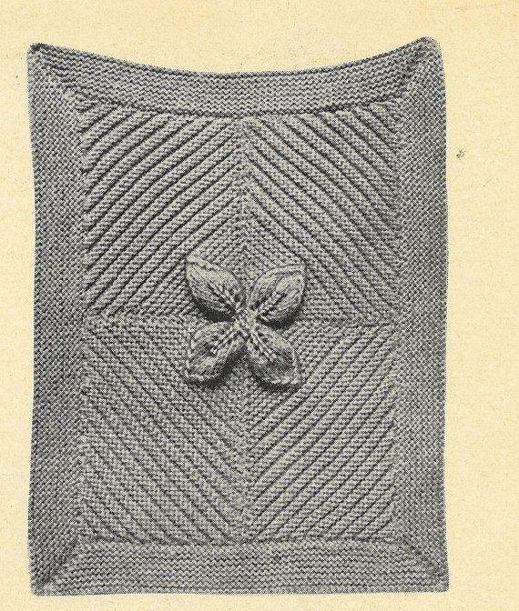Leaf design pram rug vintage baby knitting pattern by Ellisadine