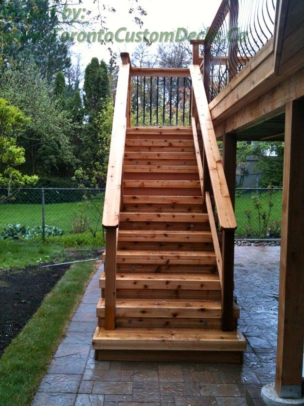 Best A Simple Rustic Cedar Wood Stairs Deck Design Custom 400 x 300